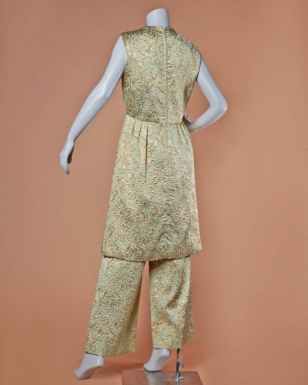Ceil Chapman Vintage Metallic Brocade Dress Pants 2