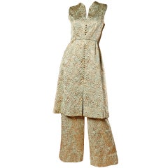 Ceil Chapman Vintage Metallic Brocade Dress + Pants 2-Piece Set