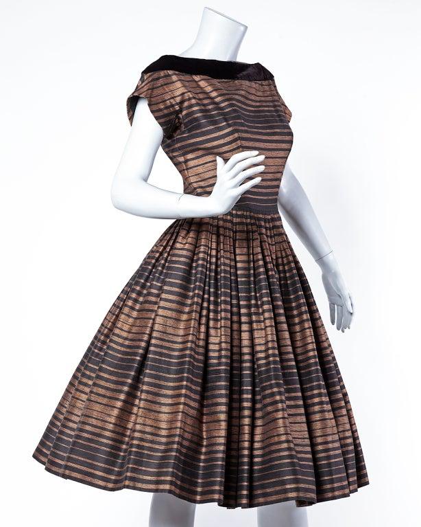 Suzy Perette Vintage 1950's Silk Two Tone Striped Party Dress 2