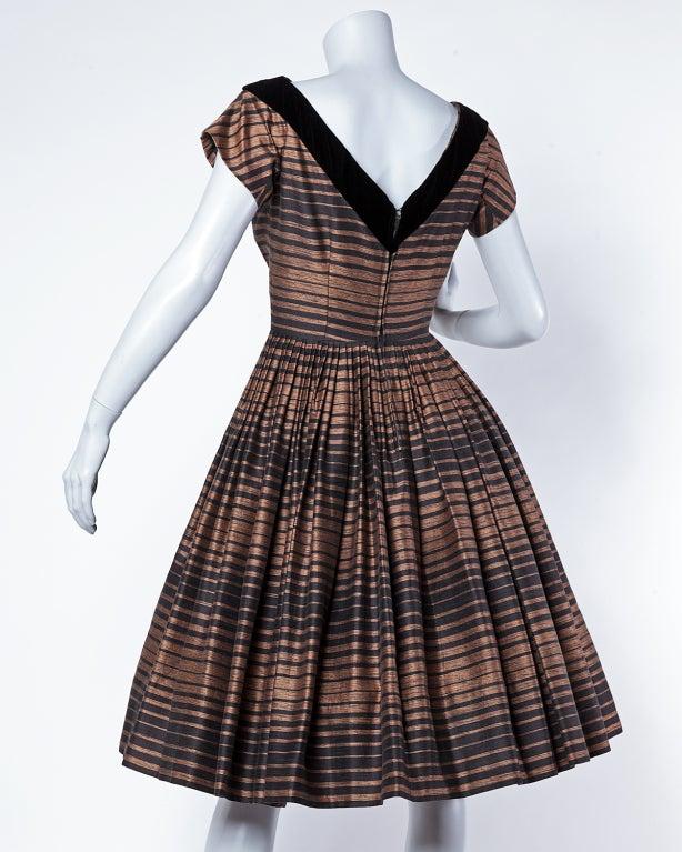 Suzy Perette Vintage 1950's Silk Two Tone Striped Party Dress 3
