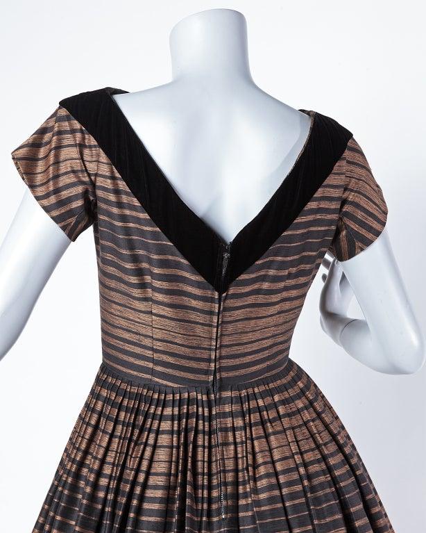 Suzy Perette Vintage 1950's Silk Two Tone Striped Party Dress 4