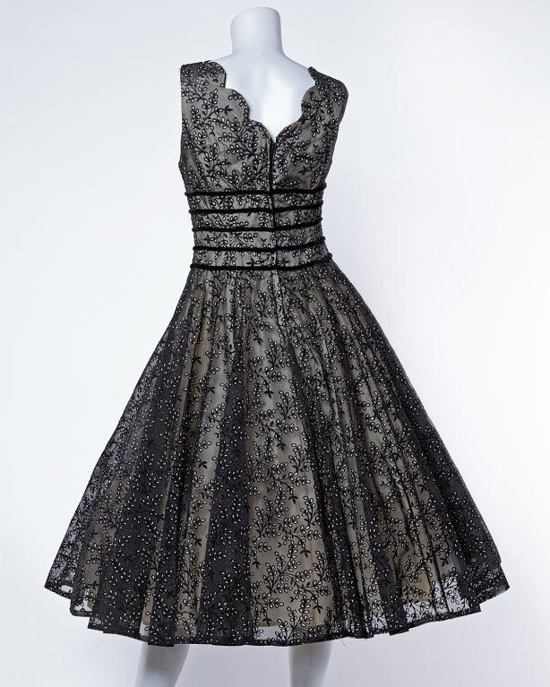 Vintage 1950s Sheer Burnout Velvet Organza Scalloped Party Dress image 3