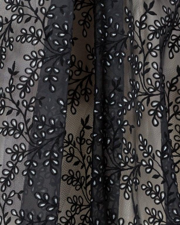 Vintage 1950s Sheer Burnout Velvet Organza Scalloped Party Dress For Sale 3