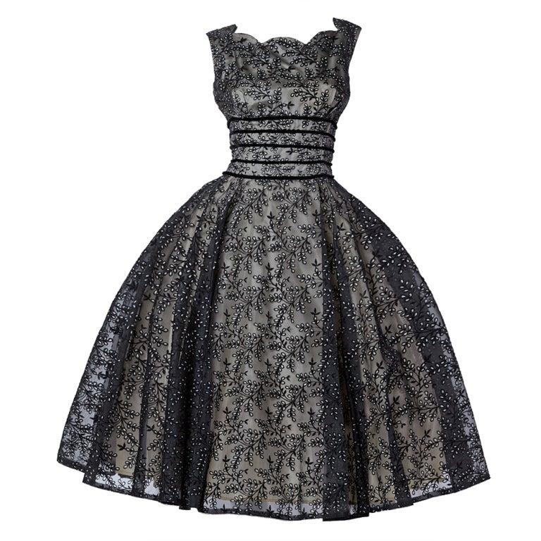 Vintage 1950s Sheer Burnout Velvet Organza Scalloped Party Dress