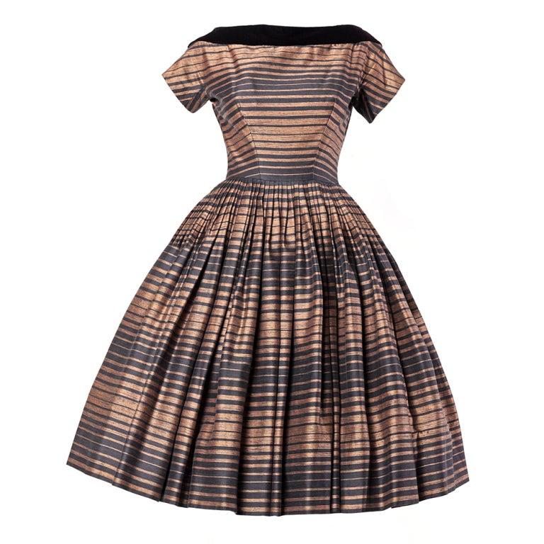 Suzy Perette Vintage 1950's Silk Two Tone Striped Party Dress 1