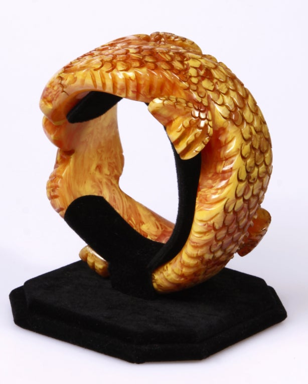 Show Stopper 1940 S Deeply Carved Dragon Bakelite Bracelet