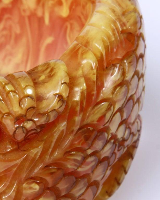 Show Stopper 1940 S Deeply Carved Dragon Bakelite Bracelet