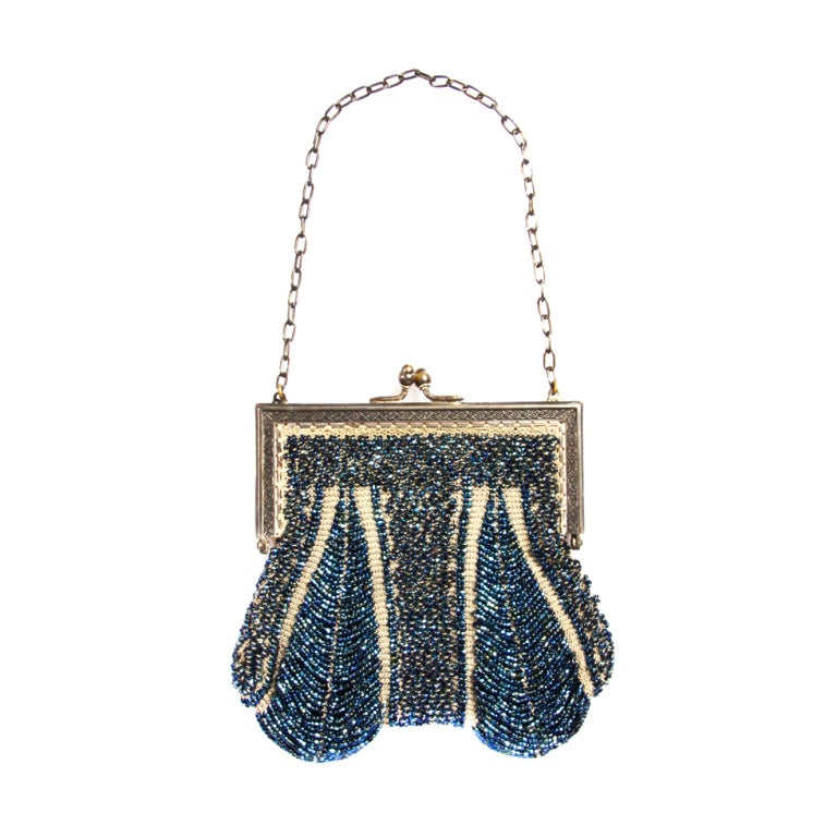 Vintage 1920s Flapper Opulent Blue Glass Beaded Purse Bag