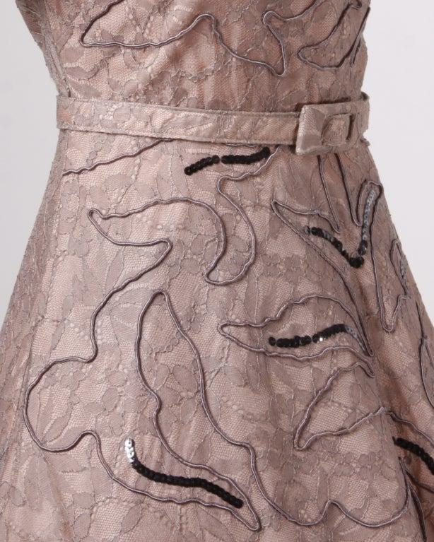 Vintage Soutache & Lace Pink Full Sweep Party Dress 1940s 1950s 4