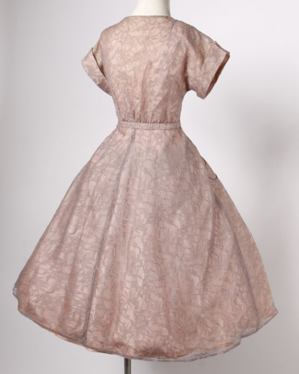 Vintage Soutache & Lace Pink Full Sweep Party Dress 1940s 1950s 5