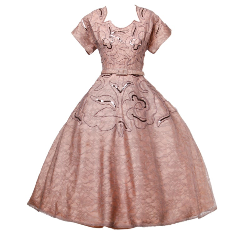Vintage Soutache & Lace Pink Full Sweep Party Dress 1940s 1950s 1
