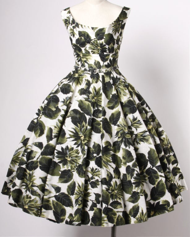 Vintage 1950s Printed Raw Silk Full Sweep Floral Party Dress 2