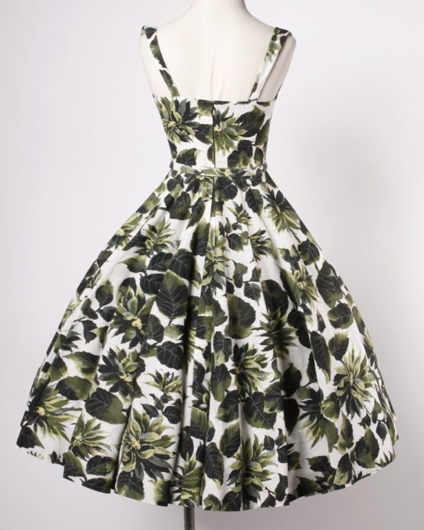 Vintage 1950s Printed Raw Silk Full Sweep Floral Party Dress 5