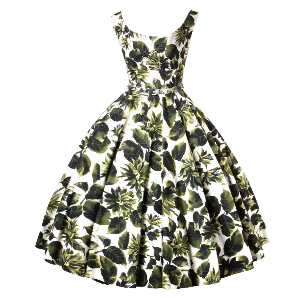 Vintage 1950s Printed Raw Silk Full Sweep Floral Party Dress 1