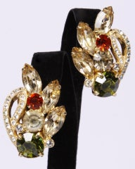 EISENBERG clip,colored stone earrings