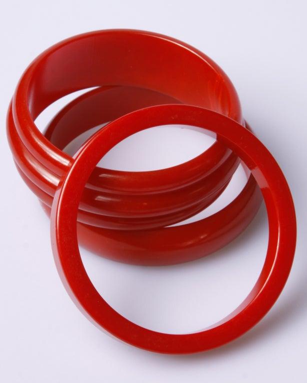 Vintage 1950's Cherry Red Bakelite Bangle 3-Bracelet Set 2