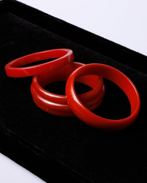 Vintage 1950's Cherry Red Bakelite Bangle 3-Bracelet Set 3