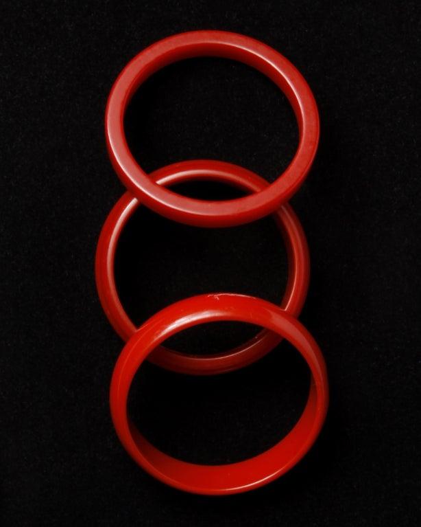 Vintage 1950's Cherry Red Bakelite Bangle 3-Bracelet Set 5