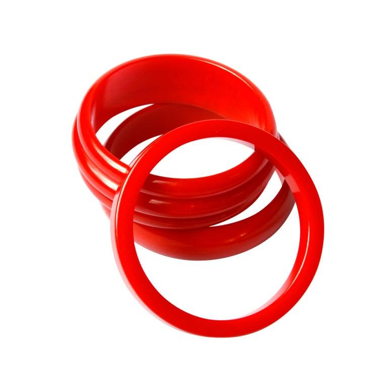 Vintage 1950's Cherry Red Bakelite Bangle 3-Bracelet Set 1