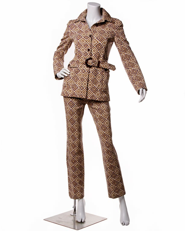 Fall 1996 Prada Suit- Printed Jacket + Pants Set Sz 38 2