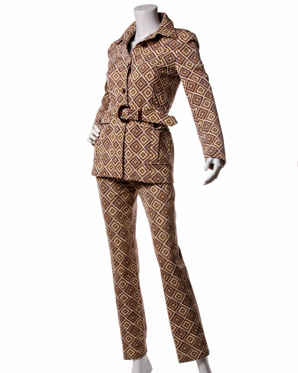 Fall 1996 Prada Suit- Printed Jacket + Pants Set Sz 38 4