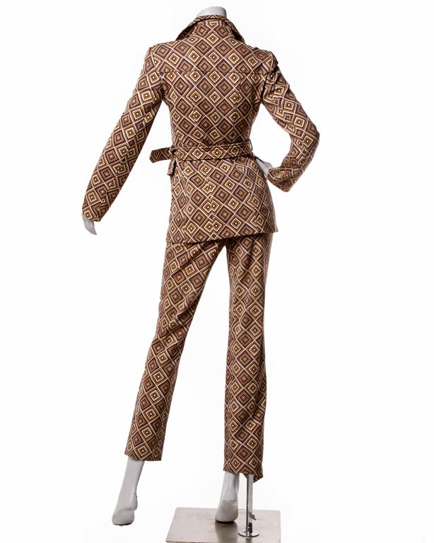 Fall 1996 Prada Suit- Printed Jacket + Pants Set Sz 38 5