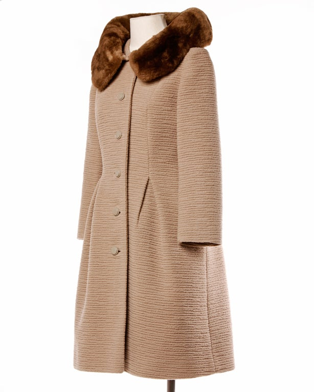 Vintage 1960's Lilli Ann Scalloped Buttery Soft Fur + Wool Coat 5