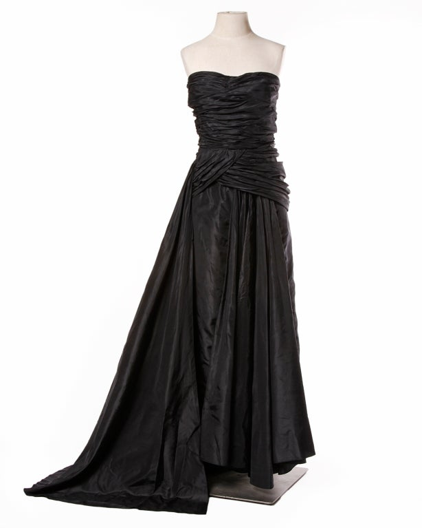 Vintage 1950's Draped Black Silk Strapless Evening Dress Gown 2