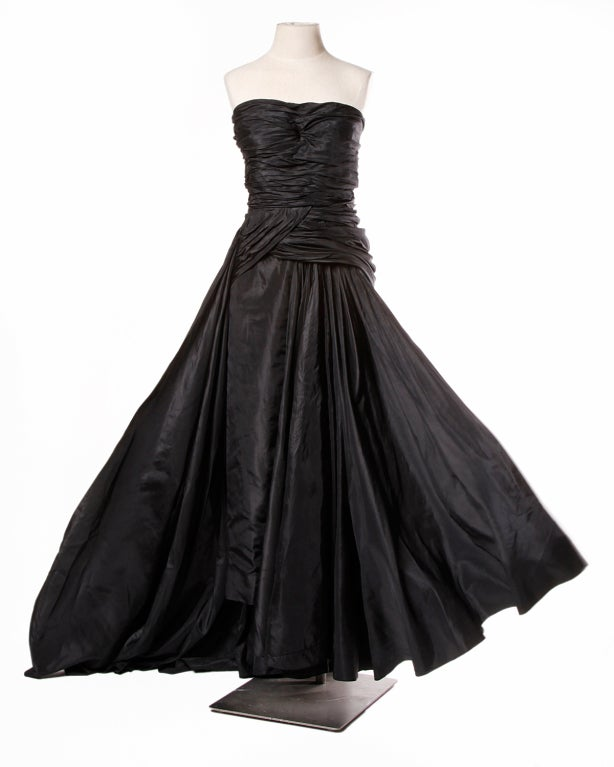 Vintage 1950's Draped Black Silk Strapless Evening Dress Gown 3