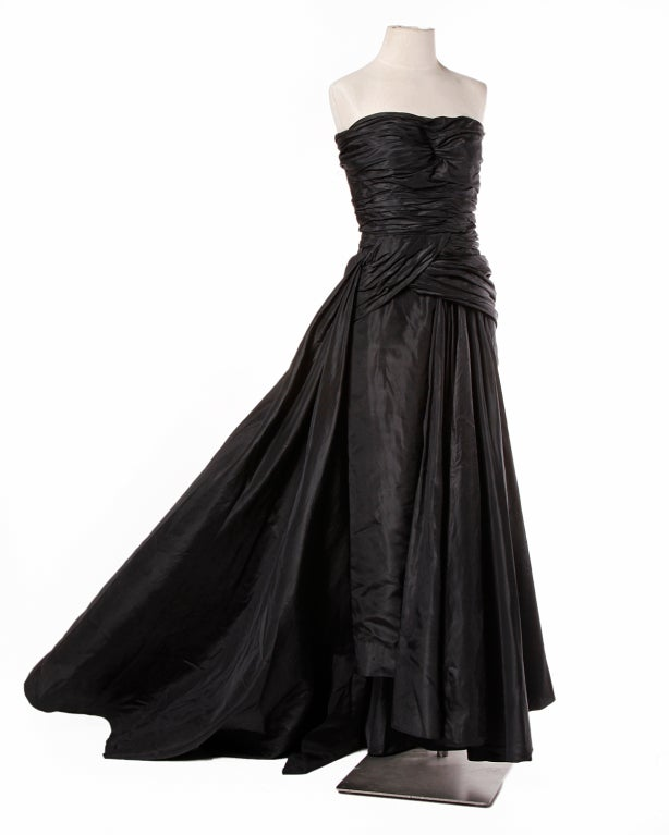 Vintage 1950's Draped Black Silk Strapless Evening Dress Gown 4