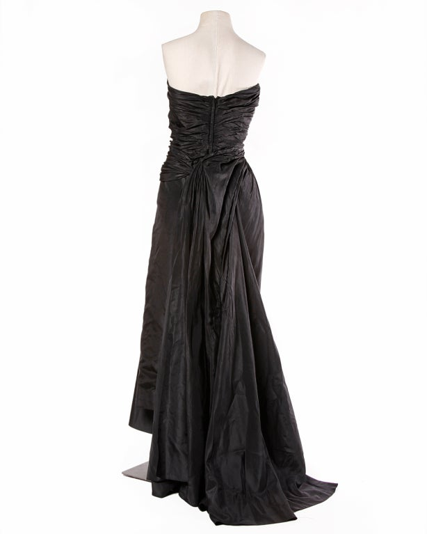 Vintage 1950's Draped Black Silk Strapless Evening Dress Gown 5