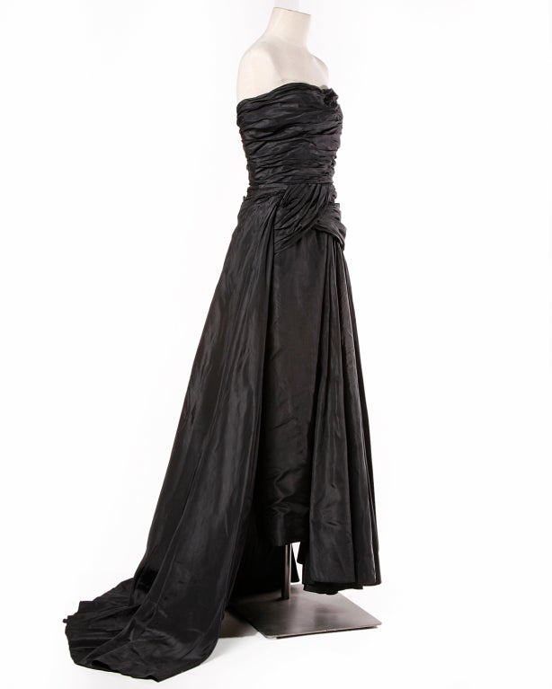 Vintage 1950's Draped Black Silk Strapless Evening Dress Gown 6