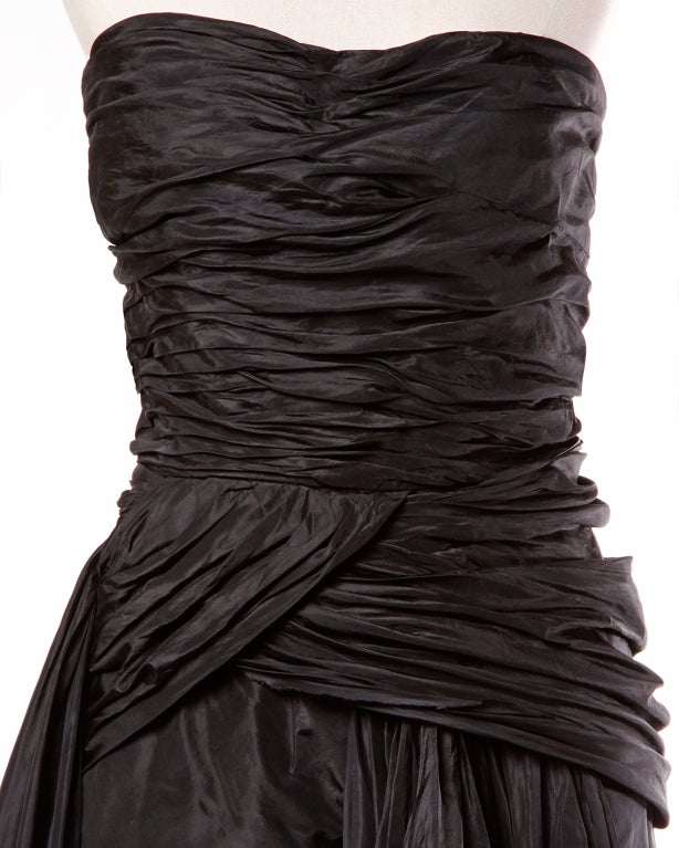 Vintage 1950's Draped Black Silk Strapless Evening Dress Gown 7