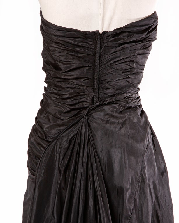 Vintage 1950's Draped Black Silk Strapless Evening Dress Gown 8