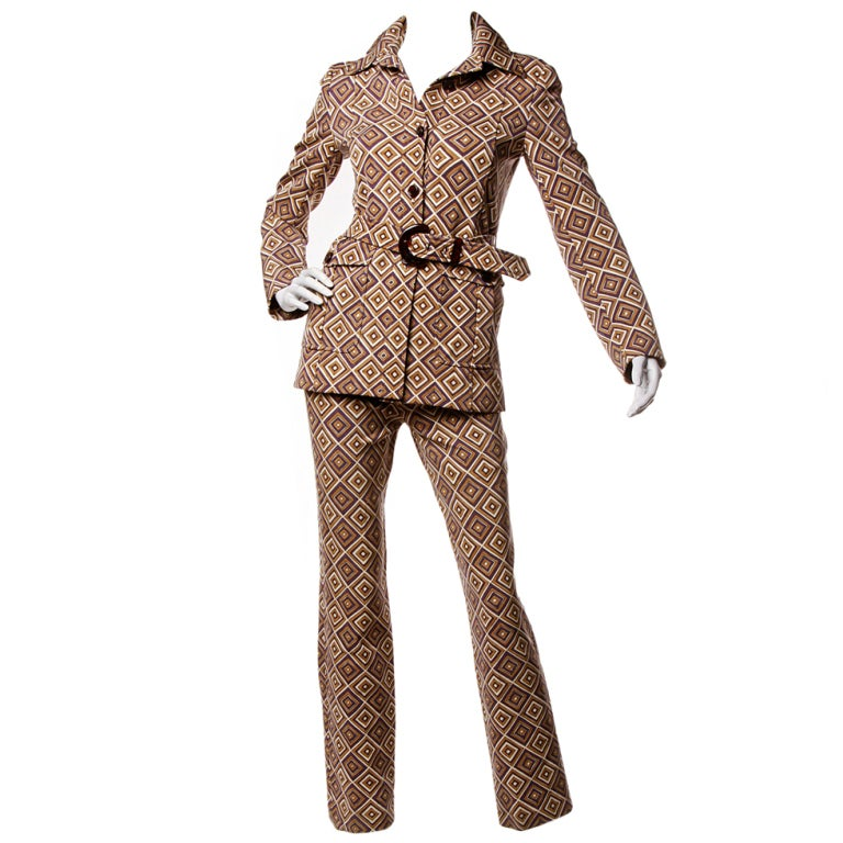 Fall 1996 Prada Suit- Printed Jacket + Pants Set Sz 38 1