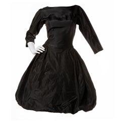 Vintage 1950's Sandra Sage Black Silk Taffeta Bubble Hem Dress