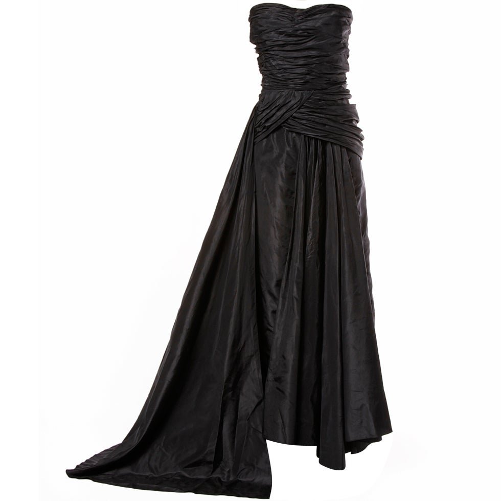 Vintage 1950's Draped Black Silk Strapless Evening Dress Gown 1