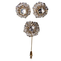 Miriam Haskell Demi Parure Crystal Moonstone Earrings + Pin