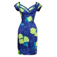 Philip Hulitar Vintage 1950's Floral Silk Bombshell Wiggle Dress