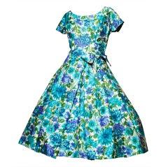 Vintage 1950's Suzy Perette Floral Silk Dress