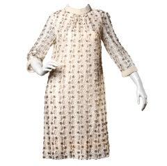 Vintage 1960's Blush Heavily Glass Beaded Lace Shift Dress