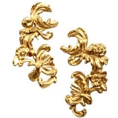 YSL Oversize Vintage Yves Saint St Laurent Gold HUGE! Earrings