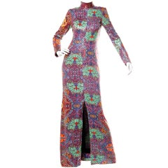 Malcolm Starr by Elinor Simmons Vintage 70's Sequin Asian Print Maxi Dress