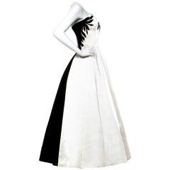 Emma Domb Vintage Black & White Sequin Gown / 1940's Dress