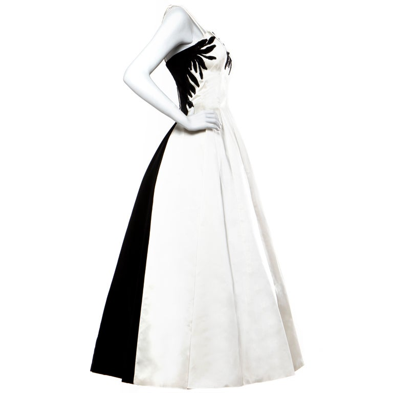 Emma Domb Vintage Black And White Sequin Gown / 1940's