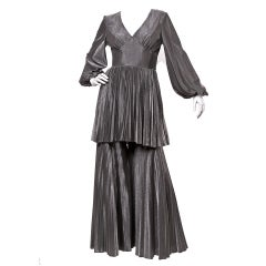 Vintage 1970's Metallic Pleated Palazzo Pants + Top Set