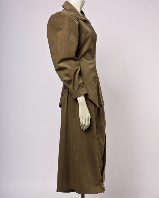 Brown Norma Kamali Vintage 1980s Avant Garde Top and Skirt Suit Set For Sale