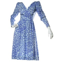 Balenciaga Vintage 90s Blue Silk Botanical Print Dress