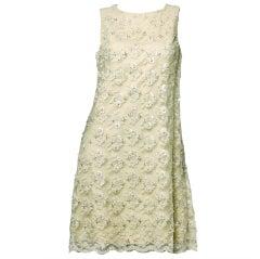 Rare Castillo for Lanvin Vintage 1960's Sequin Beaded Lace Dress