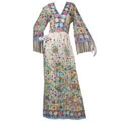 Vintage 1970's Nat Kaplan Metallic Silk Maxi Dress with Fringe
